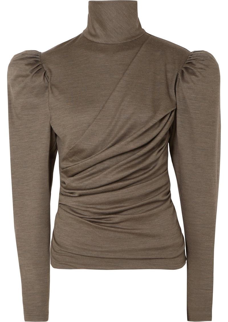 Isabel Marant Davina Draped Wool Turtleneck Top