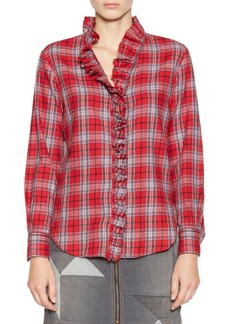 Isabel Marant Dawden Plaid Ruffle Button-Down Shirt