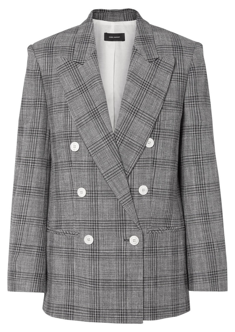 Isabel Marant Deagan Double-breasted Checked Cotton-blend Blazer