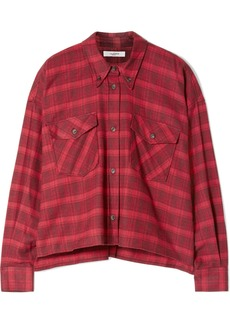 Isabel Marant Delora Cropped Checked Cotton-flannel Shirt