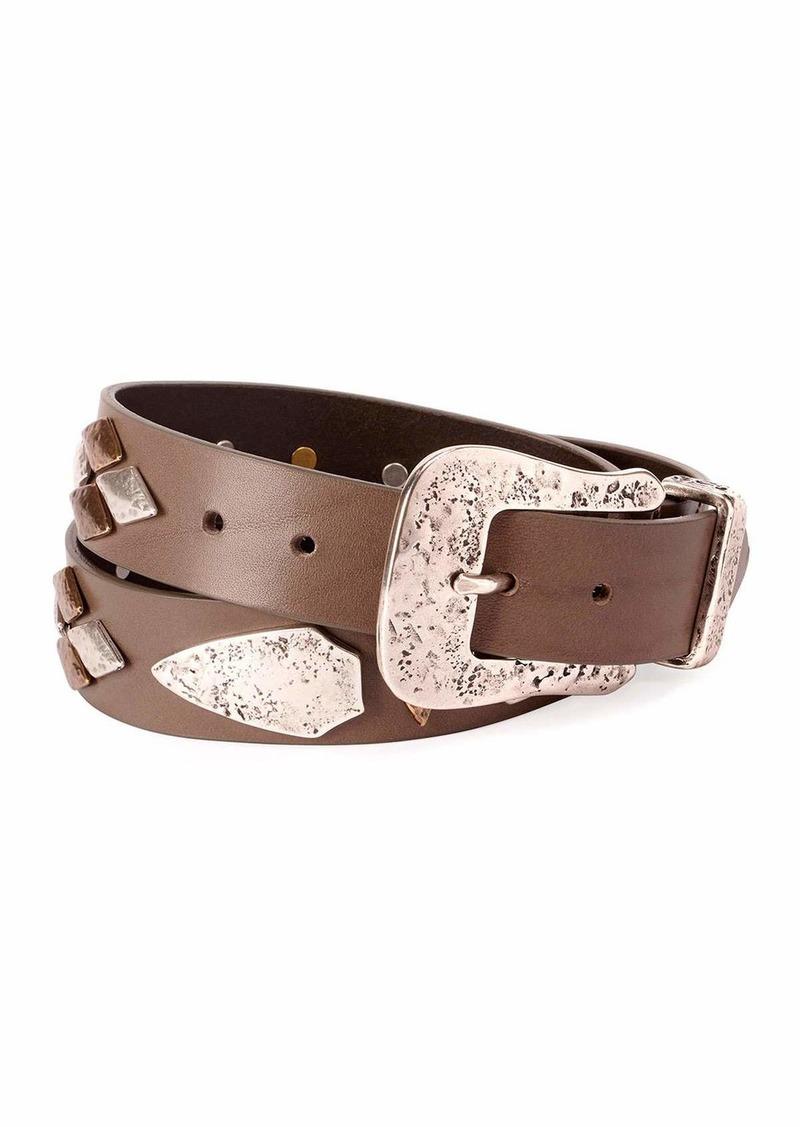 Isabel Marant Dern Leather Belt w/ Metal Accents