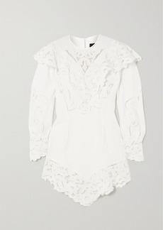 Isabel Marant Ellery Asymmetric Linen And Guipure Lace Mini Dress