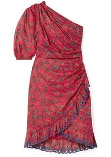 Isabel Marant Esther One-shoulder Embroidered Floral-print Cotton Mini Dress