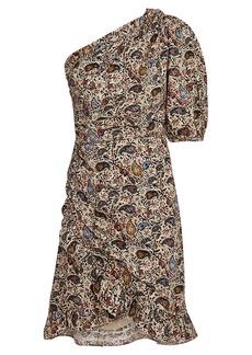 Isabel Marant Esther Paisley One-Shoulder Dress