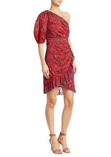 Isabel Marant Esther Printed Cotton One-Shoulder Dress