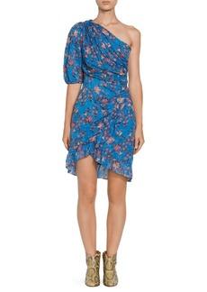 Isabel Marant Esther Printed One-Shoulder Ruched A-Line Dress
