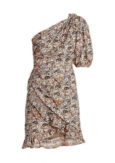 Isabel Marant Esthera One-Shoulder Paisley Dress