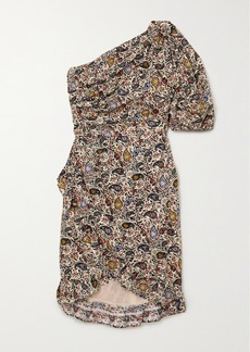 Isabel Marant Esthera One-sleeve Wrap-effect Paisley-print Cotton Mini Dress