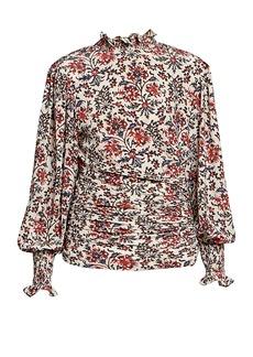 Isabel Marant Fantine Highneck Floral Silk Blouse