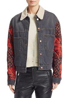 Isabel Marant Chrissa Faux Fur-Trim Denim Patchwork Jacket