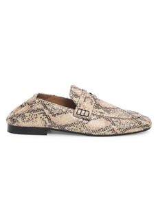 Isabel Marant Fezzy Snakeskin-Embossed Leather Drivers