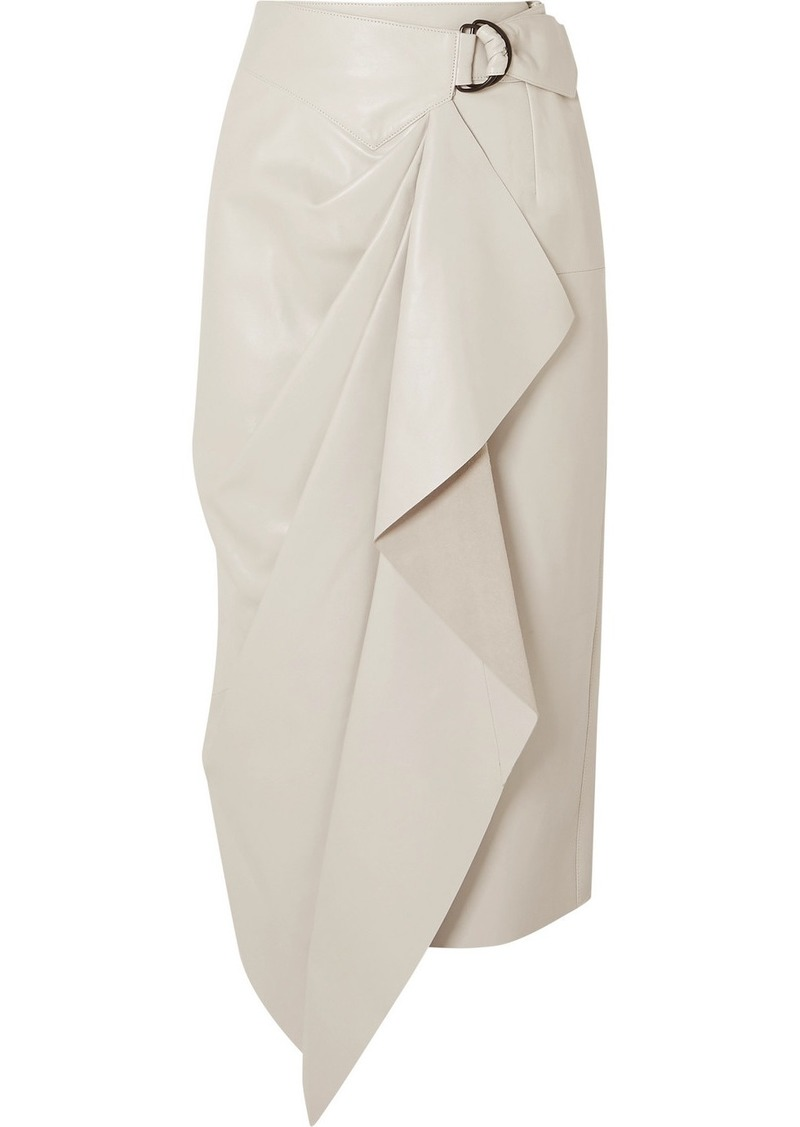 Isabel Marant Fiova Leather Wrap-effect Midi Skirt