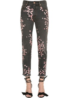 Isabel Marant Floral Embroidered Cotton Denim Jeans