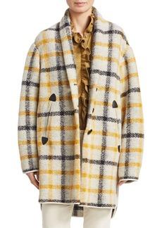 Isabel Marant Gabrie Wool Flannel Plaid Blanket Coat