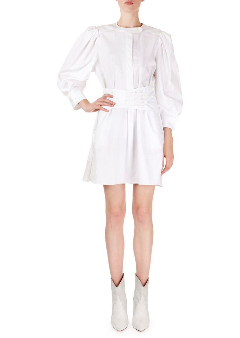 Isabel Marant Galaxy Puff-Shoulder Mini Shirtdress
