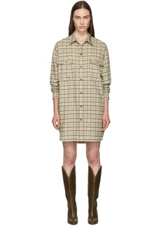 Isabel Marant Green & Orange Check Iceo Pilou Dress
