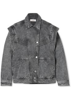 Isabel Marant Harmon Oversized Convertible Acid-wash Denim Jacket