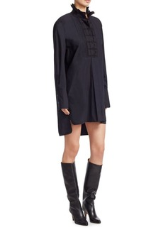 Isabel Marant High Neck Embroidered Poplin Shirt Dress