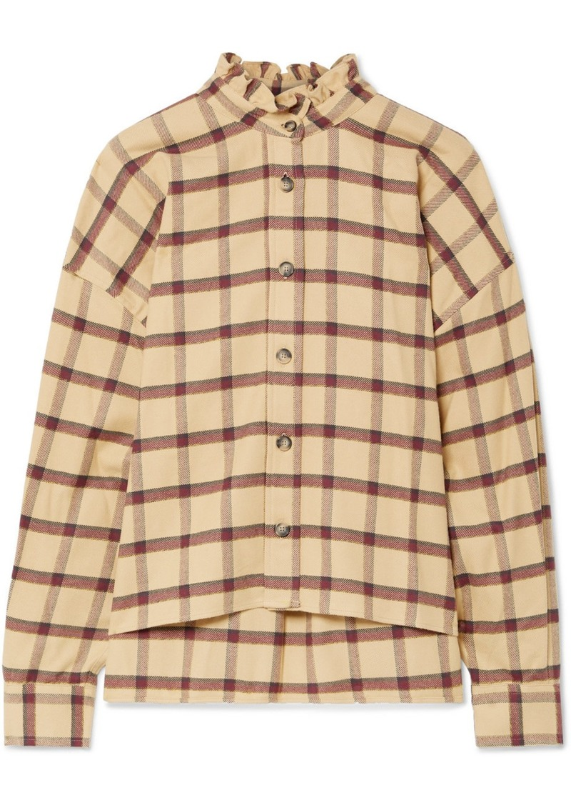 Isabel Marant Ilaria Ruffled Checked Cotton-flannel Shirt