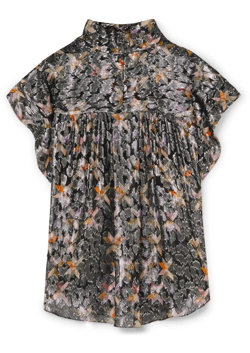 Isabel Marant Imany Draped Silk And Lurex-blend Jacquard Top