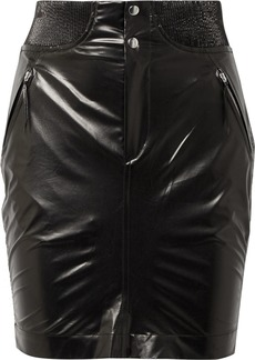 Isabel Marant Amel Ribbed Knit-trimmed Coated-silk Mini Skirt