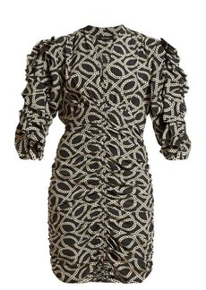 Isabel Marant Andor cog-print stretch-silk crepe mini dress