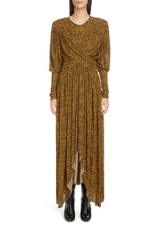 Isabel Marant Animal Print Long Sleeve Maxi Dress