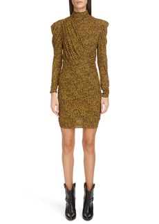 Isabel Marant Animal Print Ruched Puff Shoulder Long Sleeve Minidress