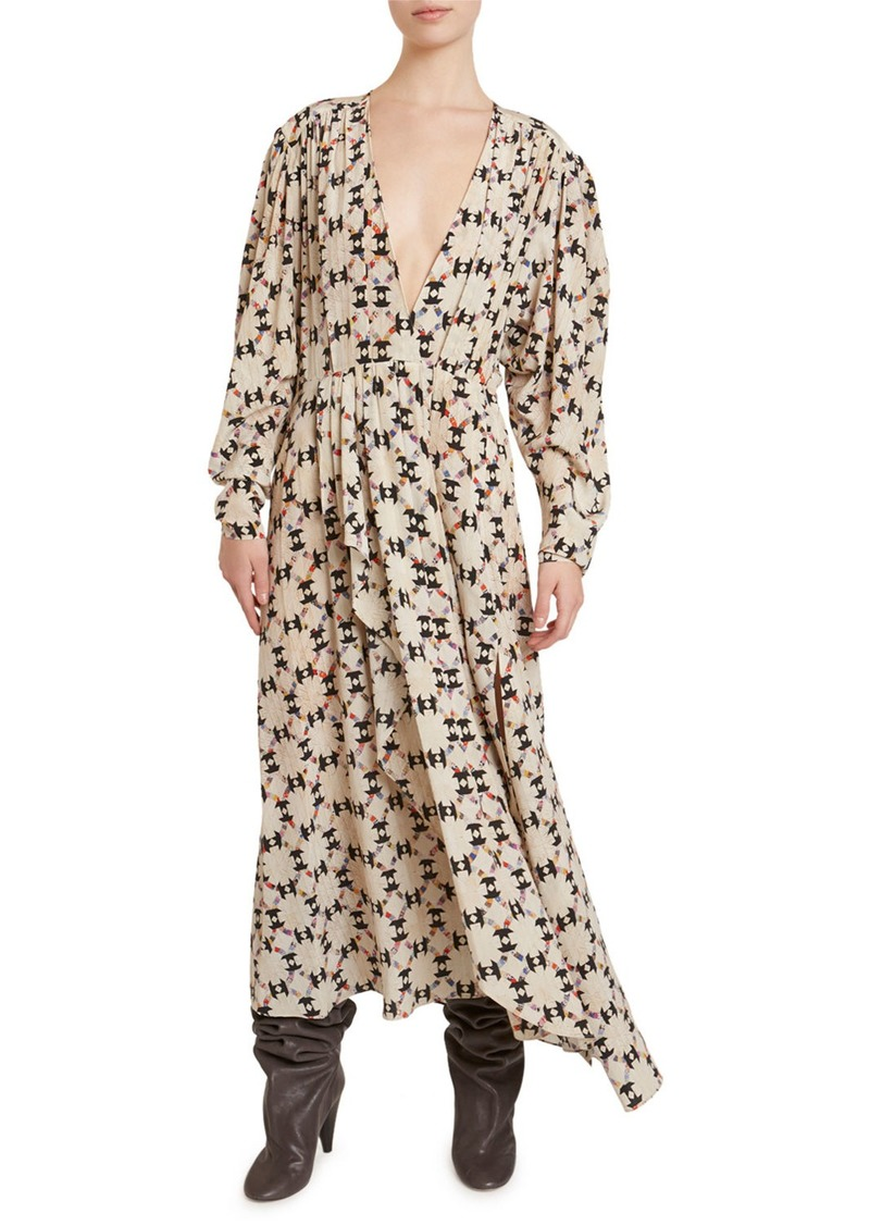 Isabel Marant Asymmetric Floral Maxi Dress