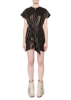 Isabel Marant Asymmetric-Front Short-Sleeve Lamb Leather Mini Dress