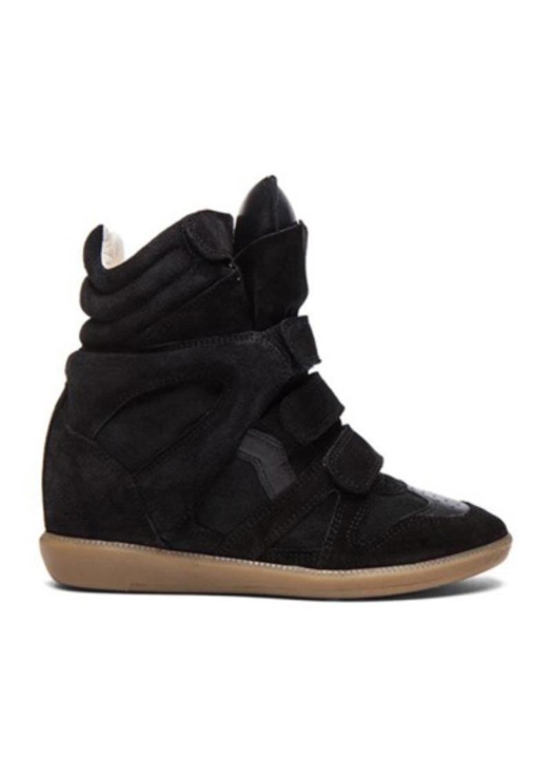 Isabel Marant Bekett Calfskin Velvet Leather Sneakers