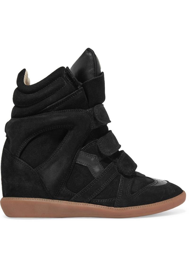 282fe16320d9 Isabel Marant Isabel Marant Bekett leather-trimmed suede wedge ...