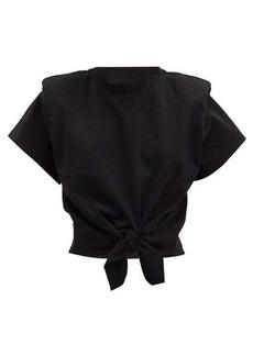 Isabel Marant Belita padded-shoulder knotted cotton T-shirt