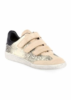Isabel Marant Beth Snake-Print Leather/Suede Grip-Strap Sneakers