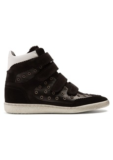 Isabel Marant Bilsy embellished concealed-wedge leather trainers