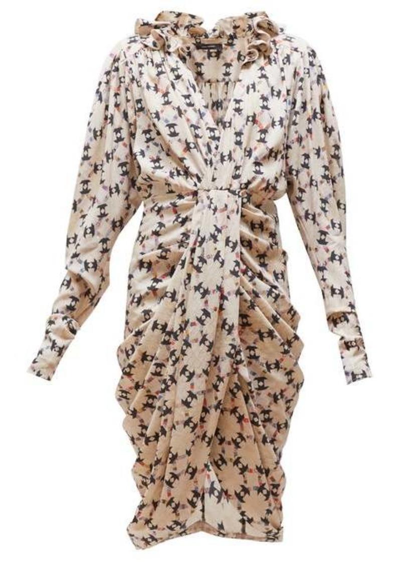 Isabel Marant Blandine draped geometric-print silk-blend dress