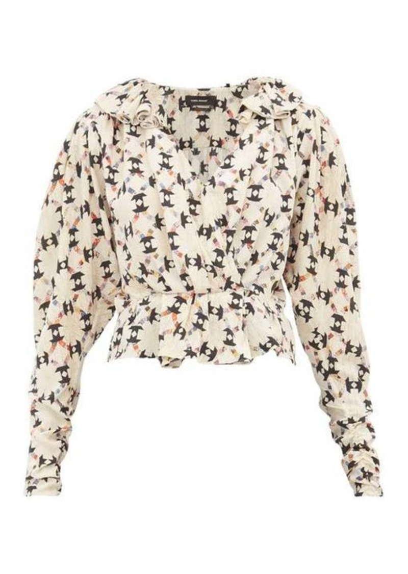 Isabel Marant Blinea geometric-print stretch-silk wrap top