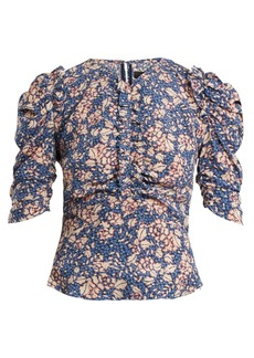Isabel Marant Brizo ruffle-trimmed floral-print stretch-silk top