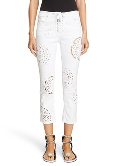 Isabel Marant Broderie Anglaise Crop Skinny Jeans