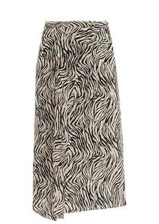 Isabel Marant Cacia zebra-print silk-blend midi skirt