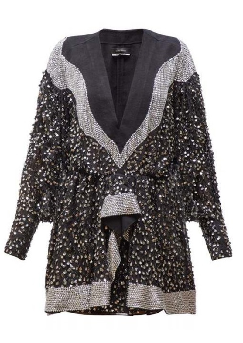 Isabel Marant Caldes sequinned chiffon mini dress