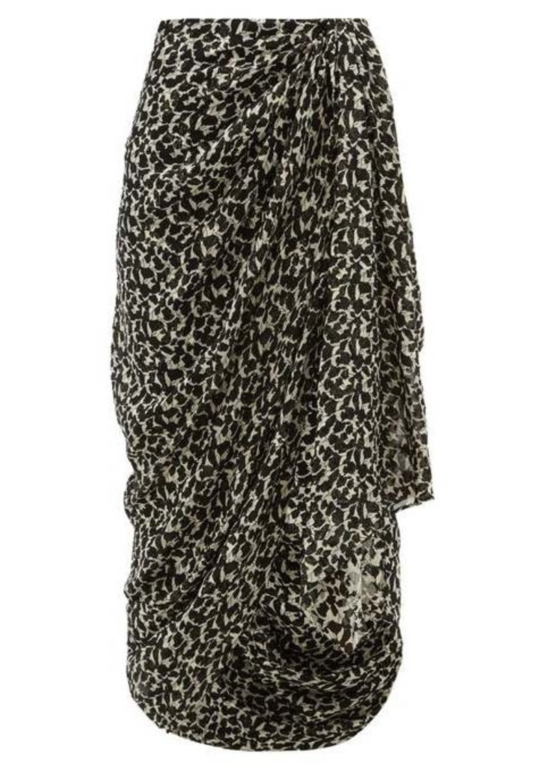 Isabel Marant Candelia draped floral-print fil coupé midi skirt