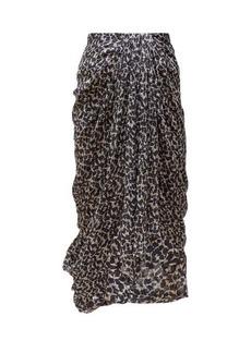 Isabel Marant Candice draped floral-print silk midi skirt