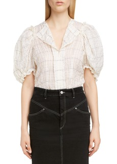 Isabel Marant Check Puff Sleeve Top