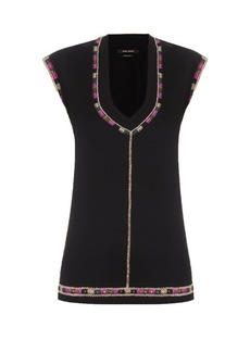Isabel Marant Cotton-jersey embroidered top
