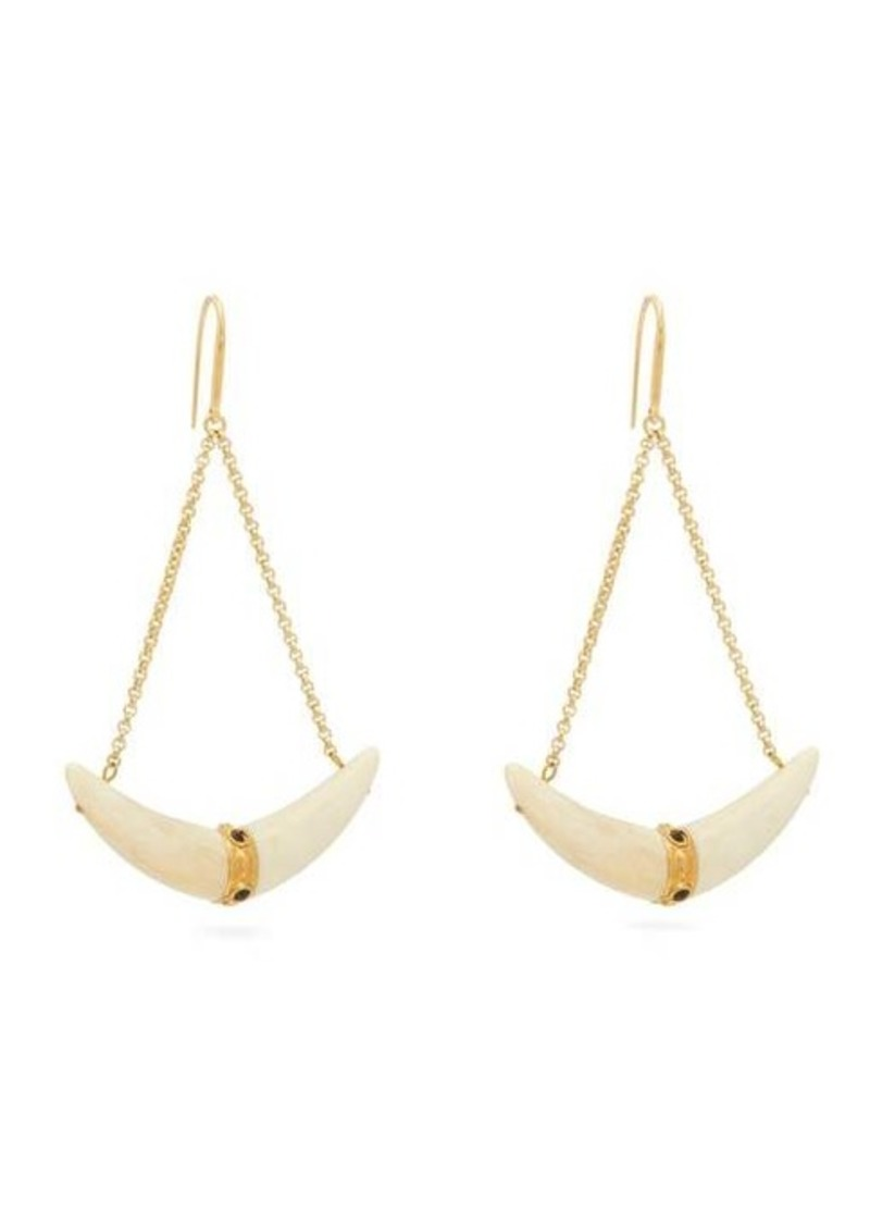 Isabel Marant Curved-horn chain-drop earrings