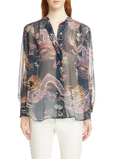 Isabel Marant Daws Dragon Print Silk Blend Shirt