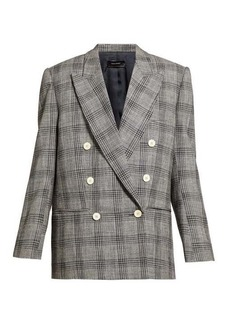 Isabel Marant Deagan checked exaggerated-shoulder wool blazer