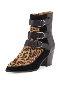 Isabel Marant Dickey Leopard-Print Fur & Leather Boot