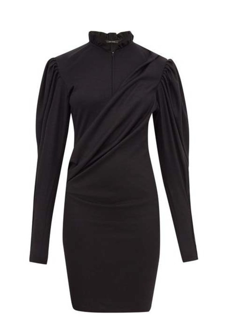 Isabel Marant Divya puff-sleeve ruched wool-jersey dress